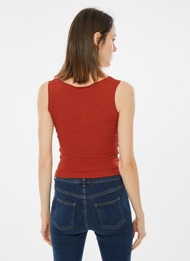 Loves You Çıtçıtlı Kalın Askılı Bluz Kırmızı
